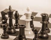 Checkmate sepia tone — Stockfoto
