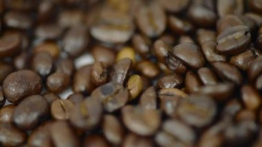 Roasted Coffee beans picked up video — Stock Video