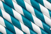 Blue white paper straw background — Stock Photo