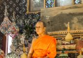 Wax sculpture of Abbot  in Wat Paknam Thailand — Stock Photo