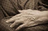 Asian old woman 's hand closeup — Stock Photo