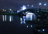 Fountain night bridge — Stock Photo