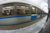 Subway train in motio — Stockfoto