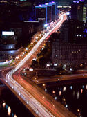 Moscow  night traffic — Stock Photo