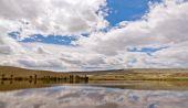 Landscape steppe lake sky — Stock Photo