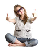 Girl sunglasses success isolated white — Stock Photo