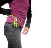 Girl waist girdle  isolated white — Stock Photo