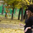Girl autumn foliage — Stock Photo #55075683