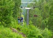 Chair lift couple — Stock Photo