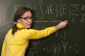 Woman professor or student chalk board — 图库照片