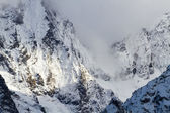 Sníh vrcholky hor — Stock fotografie