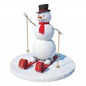Snowman skier — Stock Photo