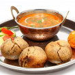 Indian Rajasthani Food Dal Bati Laddu Salad in a Thali — Stock Photo #56454795