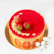 Cake with pistachio cream muslin and fresh strawberry — Stock Photo #54797213
