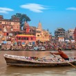 Morning at holy ghats of Varanasi, India — Stock Photo #54871335