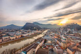 Sunrise view of the historic city Salzburg — Stock Photo
