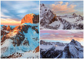 Collage of high mountains snowy winter landscapes — Stock Photo