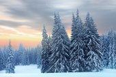 Winter landscape of high snowy mountains  — Foto de Stock