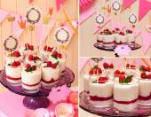 Holiday buffet collage. souffle in glasses — Stock Photo