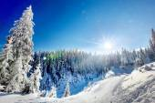 Winter landscape of snowy mountains  — Стоковое фото