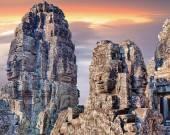 Bayon temple statues, Angkor, Siem Reap, Cambodia — Stock Photo