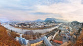 Sunrise view of the historic city Salzburg — Stock Photo