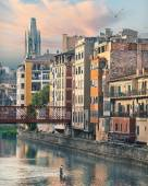 Sunset in Old Girona town, view on river Onyar — Stock Photo