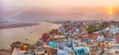Sunset view over Varanasi during kite festival — Stock Photo