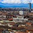 Panoramic view on Turin and Alpes from Mole Antonelliana — Stock Photo #53604609