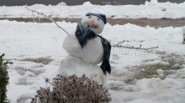 Snow Man, Ice Storm, Icing — Stock Video