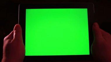 Tablet z zielonego ekranu — Wideo stockowe