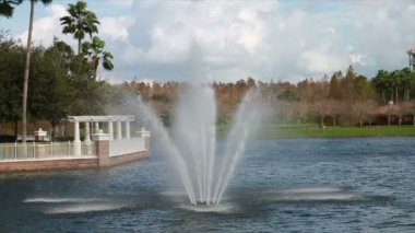 Water Fountain At Vacation Resort — Stock Video
