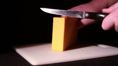 Cheddar Cheese being Cut — Stock Video