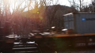 Train Passing At Sunset — Stock Video