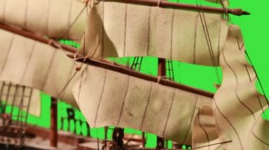 Pirate Sailboat with Green Screen. — Stock Video