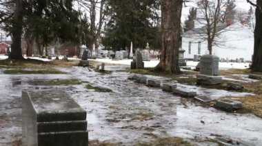 Father's Grave Stones Under Ice — Stock Video