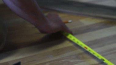 Measuring Hardwood Oak — Vídeo Stock