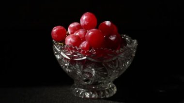 Grapes in Glass Bowl — Stock Video