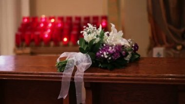 Candles at Church with Flowers — Video Stock