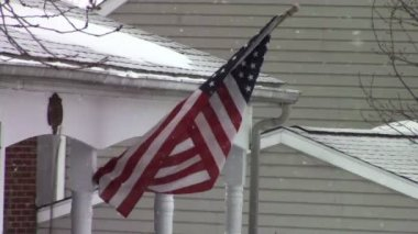 American Flag during Snow Storm — Stock Video