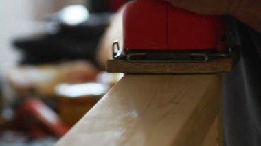 Man Sanding Wood Frame — Stock Video