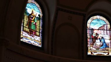 Stained Glass in Church — Stock Video