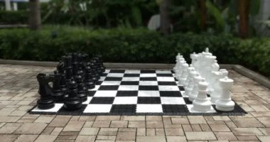 Giant Chess Set Outside — Stock Video