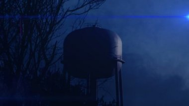 Water Tower at Night — Stock Video