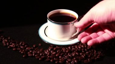 Cup and Coffee Beans — Stock Video
