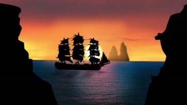 Sailboat at Sunset — Stock Video