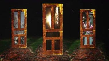 Tres puertas de misterio — Vídeo de Stock