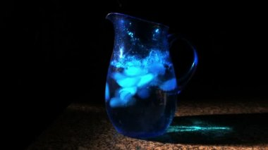 Blue Pitcher with Ice — Vídeo stock