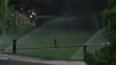 Sprinkler System Watering — Stock Video