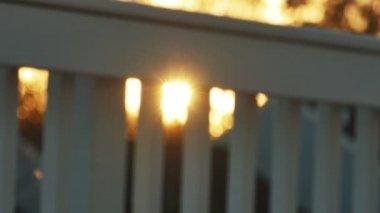 Sunshine passing through fence — Stock Video